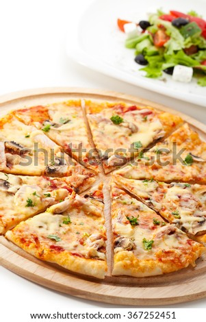Pizza and Salad - stock photo