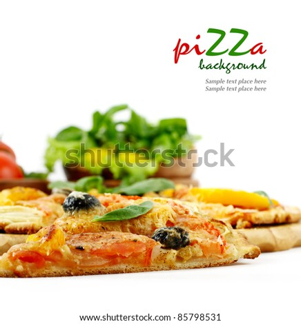 Pizza and vegetables isolated on white - stock photo