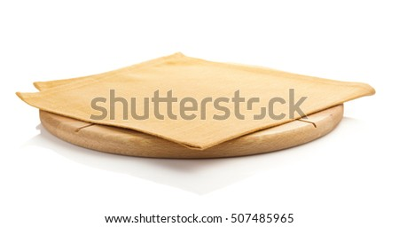 pizza board and napkin isolated on white background