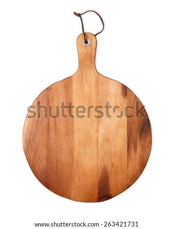 Pizza board isolated on white - stock photo