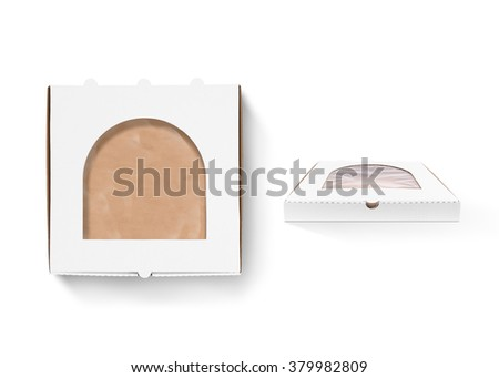 Pizza box design mock up with foil window isolated. Carton packaging box clear mockup. Delivery food plastic container template. Branding identity pizzeria restaurant design presentation element. - stock photo