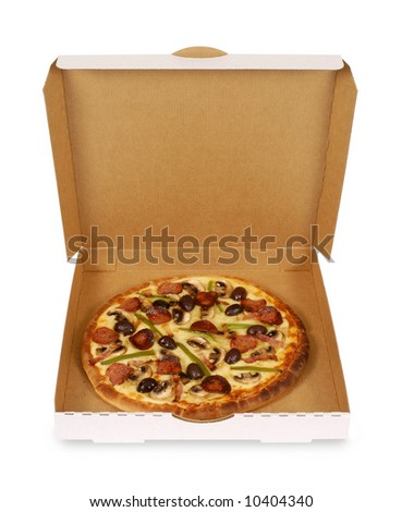 Pizza box : Freshly baked Italian pepperoni Pizza in an open delivery box isolated on a white background.