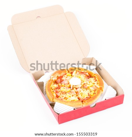 Pizza box on white background - stock photo
