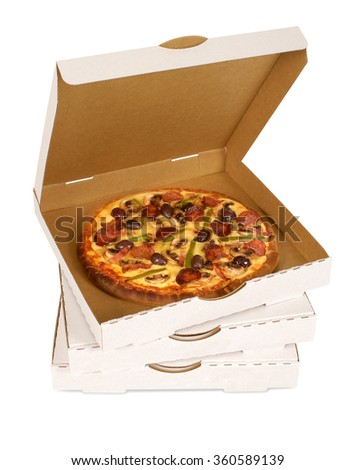 Pizza box, pepperoni pizza in open white box, isolated