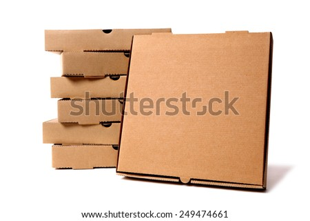 Pizza box, stack, brown, front view. - stock photo