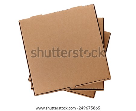Pizza box : stack, brown, isolated.  Top view. - stock photo