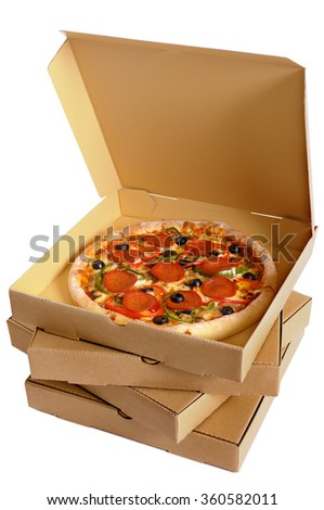 Pizza box stack, top open, pepperoni pizza inside, isolated, vertical - stock photo