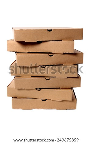 Pizza box : tall stack, brown, isolated on white. - stock photo