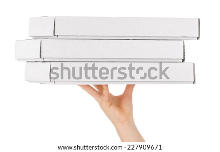 Pizza box with hand , isolated on white - stock photo