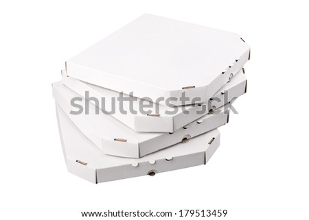 Pizza boxes, isolated on white background