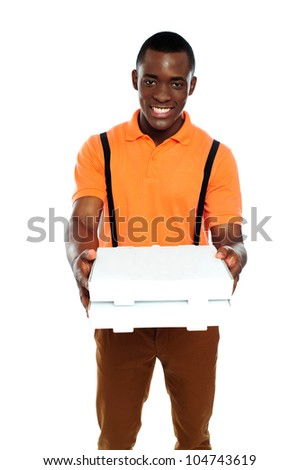 Pizza boy delivering an order isolated against white background