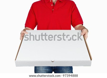 Pizza boy delivering pizza isolated on white background with copy space - stock photo
