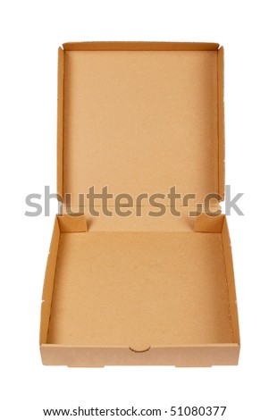 Pizza carton box isolated on white background - stock photo