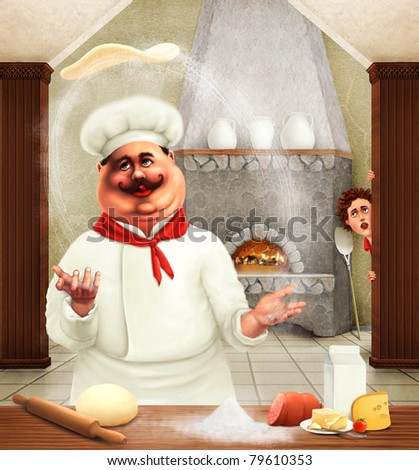 pizza chef - stock photo