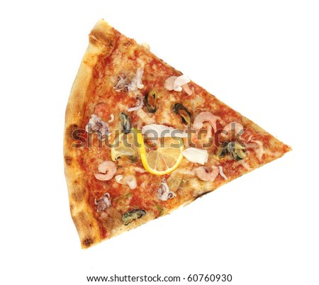 Pizza close-up on white background