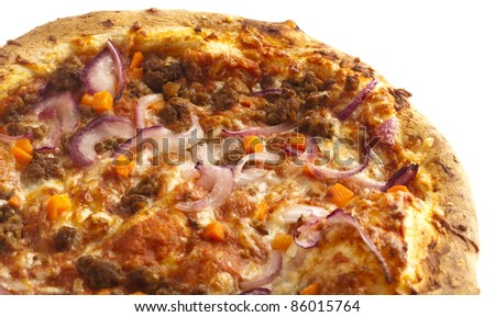 pizza closeup, on a white background - stock photo