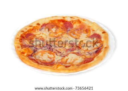pizza closeup with salami, tomato, onion and mozzarella cheese - stock photo