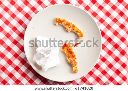 pizza crusts on white plate - stock photo