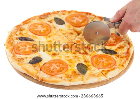 Pizza cutting isolated on white - stock photo