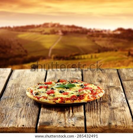 pizza decoration  - stock photo