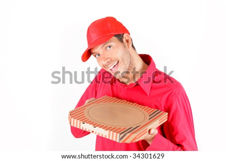 Pizza delivering man holding pizza-carton - stock photo