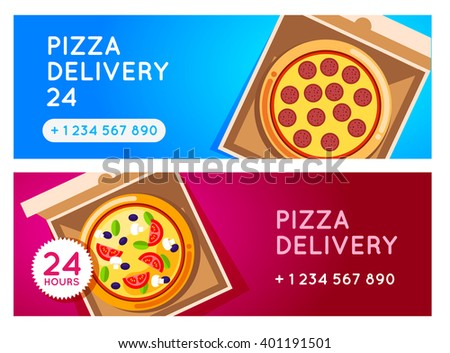 Pizza delivery background. Pizza 24 hours. Pizza with pizza box. Hot fast food pizza delivery. pizza banner for restaurant or cafe. 24 hours cafe delivery. Pizza to go.  - stock photo