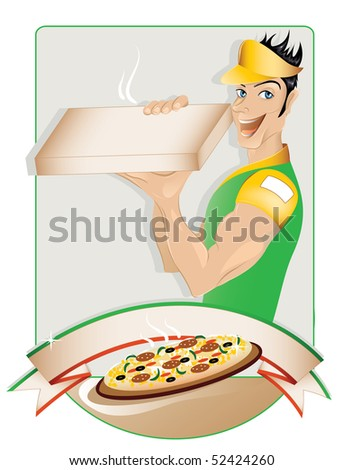 Pizza delivery boy (in the gallery also available vector version of this image) - stock photo