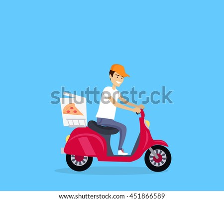 Pizza delivery concept banner design flat. Young man courier in a cap on a fast boat delivers hot pizza. Delivery food from restaurant, fast lunch pizzeria service business,  illustration - stock photo