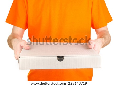 Pizza delivery courier isolated on white - stock photo