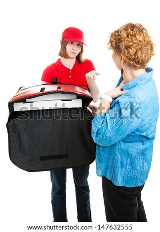 Pizza delivery girl asks for payment from a customer.  Isolated on white.   - stock photo