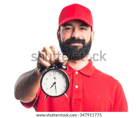 Pizza delivery man holding vintage clock