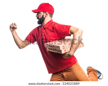 Pizza delivery man running fast - stock photo