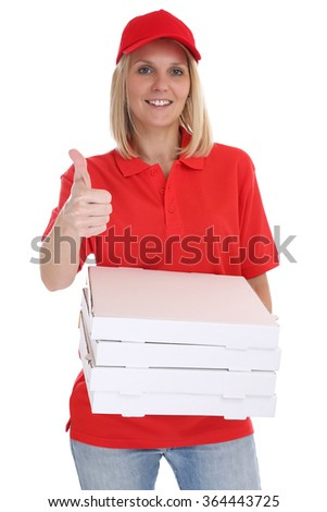 Pizza delivery woman order delivering thumbs up job young isolated on a white background - stock photo