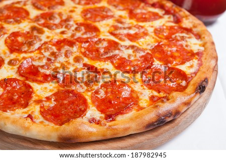 Pizza Diavola Salamy - stock photo