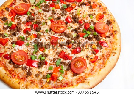 pizza, different kinds of pizzas to the menu of restaurant and pizzeria, a variety of pizza toppings - stock photo