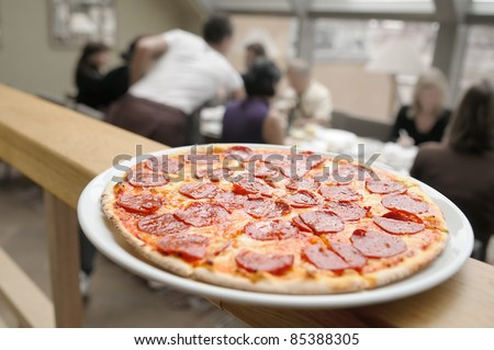 Pizza for a business lunch. - stock photo