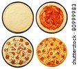 Pizza from the top - step by step cooking - stock photo