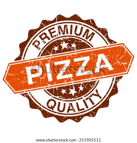 Pizza grungy stamp isolated on white background - stock photo