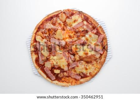 pizza ham pineapple - stock photo