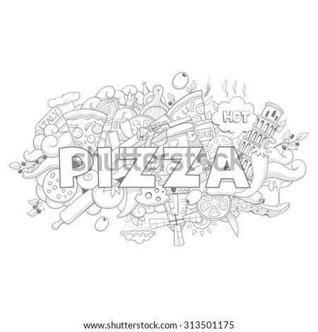Pizza hand-drawing title design raster version,