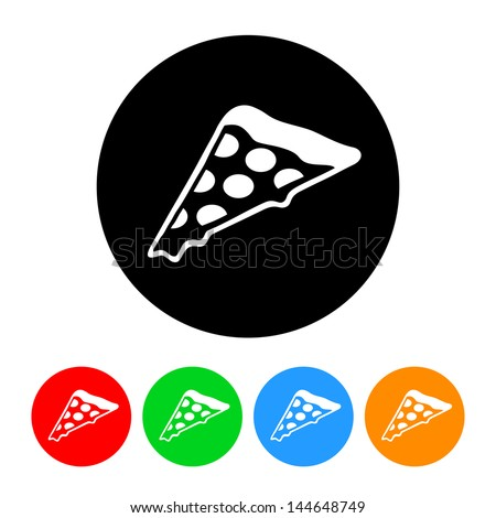 Pizza Icon with Color Variations.  Raster version, vector also available. - stock photo