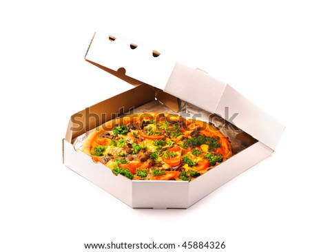 Pizza in a takeaway box isolated on white