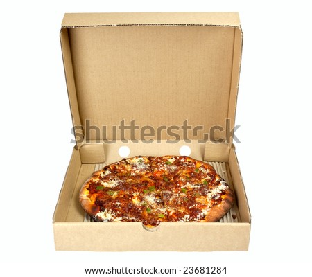 Pizza in a takeaway box isolated on white background - stock photo