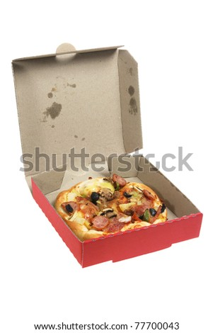 Pizza in Box on White Background