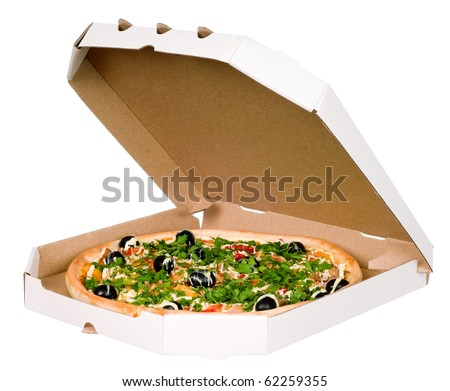 Pizza in carton box. Isolated on white background - stock photo