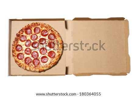 Pizza in delivery box on white background - stock photo