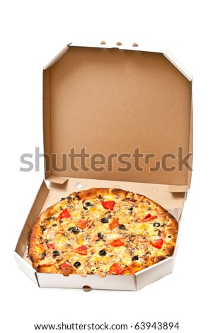 Pizza in open cardboard box isolated on white background. Vertical shot - stock photo
