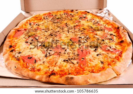 Pizza in the cardbox isolated on white - stock photo