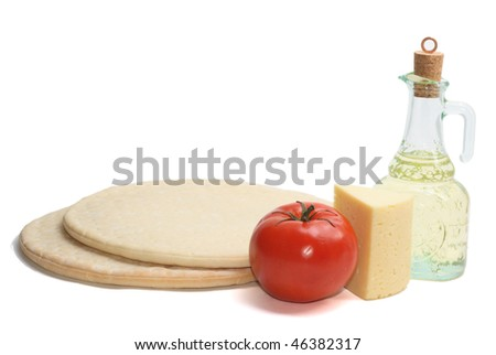 pizza ingredients isolated on white - stock photo