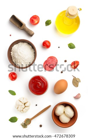 pizza ingredients isolated on white background